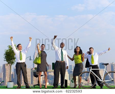 Environmentalist People Celebrating Green Business at NYC Skyline