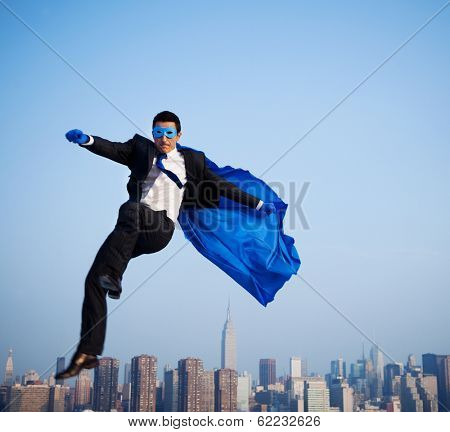 Superhero Businessman Flying Over New York City