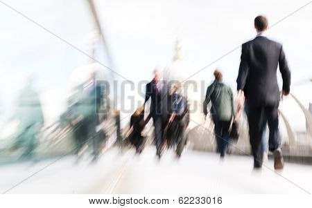 Business People Rushing to Work in London