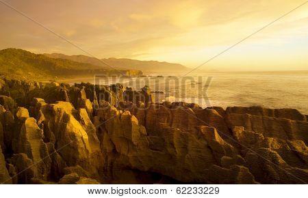 Panaroma of The Pancake Rocks at Sunset, New Zealand
