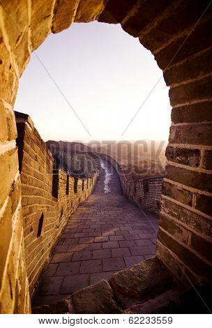 Sunrise View From a Gate at The Great Wall of China