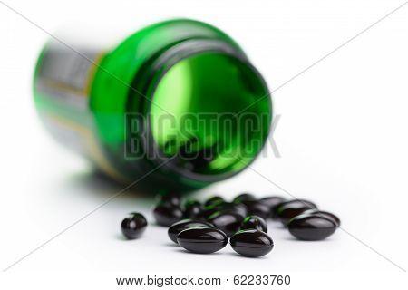Medicine Pills Spill Out Of Bottle