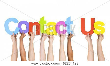 Multi Ethnic People Holding Words Contact Us