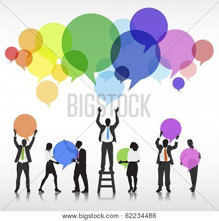 Vector of Business Silhouettes and Speech Bubbles