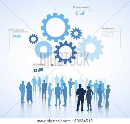 Vector of Business Teamwork with Gears and People