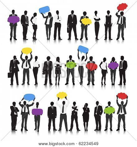 Vector of Business Communication with People Holding Speech Bubbles