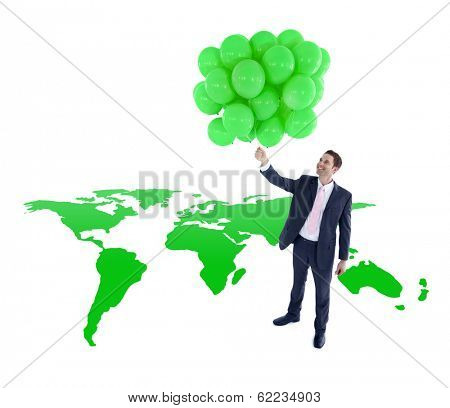 Global Green Business With Environmentalist Holding Balloons