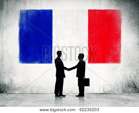 Business People Shaking Hands With Flag of Netherlands