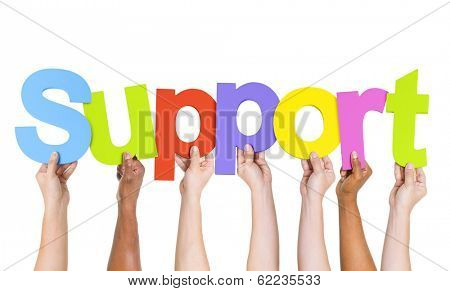 Diverse Hands Holding The Word Support