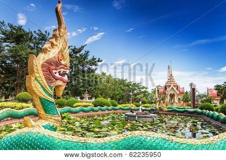 Element Of Thai Mythology Character Golden Naga, As Part Of Chalong Temple, Phuket, Thailand