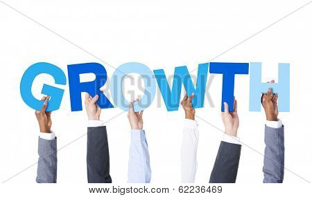 Group of Hands Holding The Word Growth
