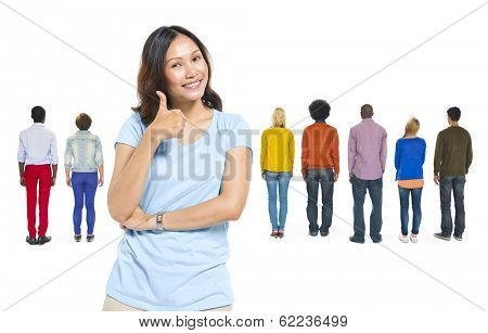 Asian Woman And Group of Diverse People