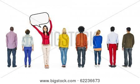 Happy Asian Woman With Speech Bubble With Group of Multi-Ethnic People
