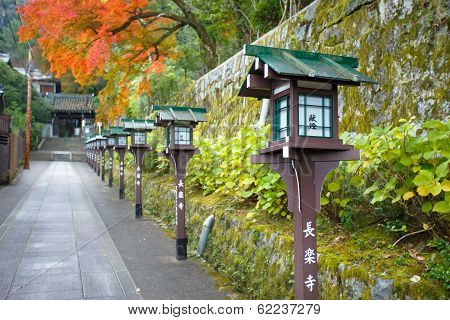 Postlamps on the side of the road leads the way to Chorakuji