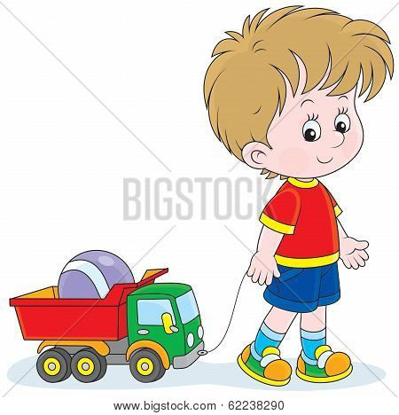 Boy walking with toys