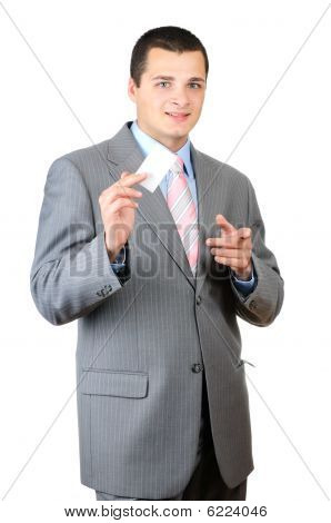 Businessman holding blank card isolated on white