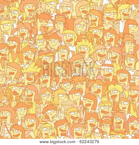 Singing Children Choir Seamless Pattern