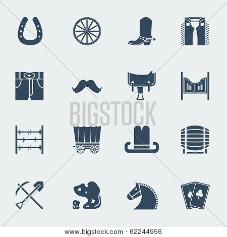 Cowboy Pictograms.vector Wild West Icons Isolatedon White