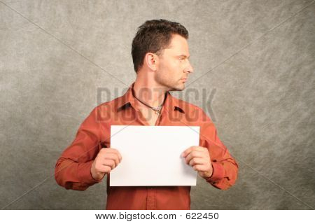 White man with blank card - right profile