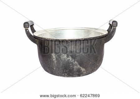 Old Black Pot On A White Background