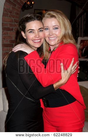 LOS ANGELES - MAR 25:  Amelia Heinle, Melody Thomas Scott at the Young and Restless 41st Anniversary Cake at CBS Television City on March 25, 2014 in Los Angeles, CA