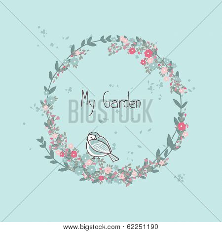 garden theme card with floral wreath