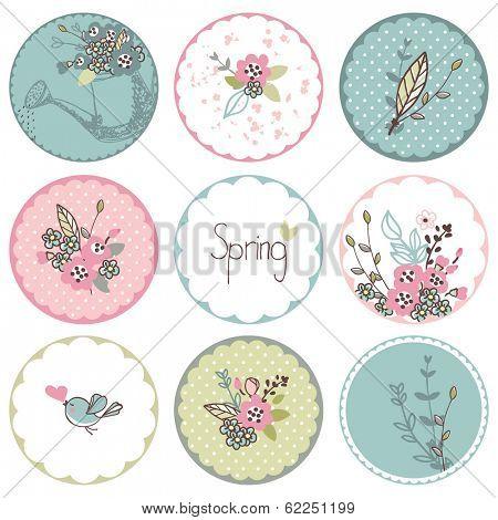 spring garden theme circle tags