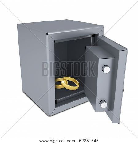 Two gold rings in an open safe