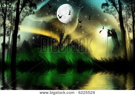 Web Banner Aurora Borealis with man silhouette