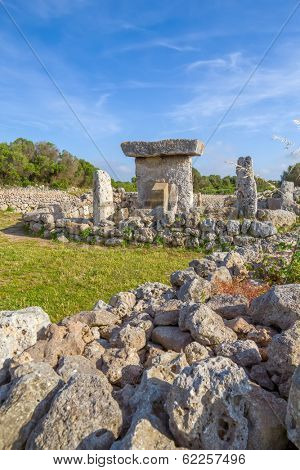 Talaiot de Trepuco megalithic table-shaped Taula monument in sunny day at Menorca island, Spain.