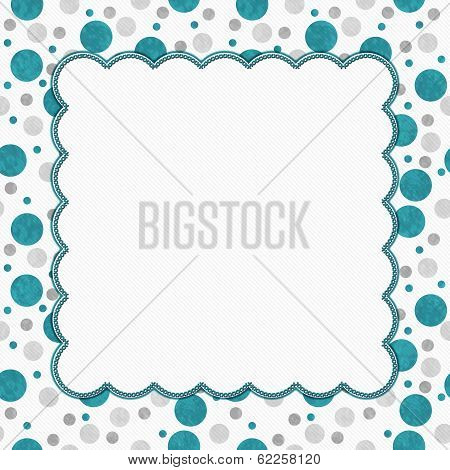 Teal, Gray And White Polka Dots Frame With Embroidery Background