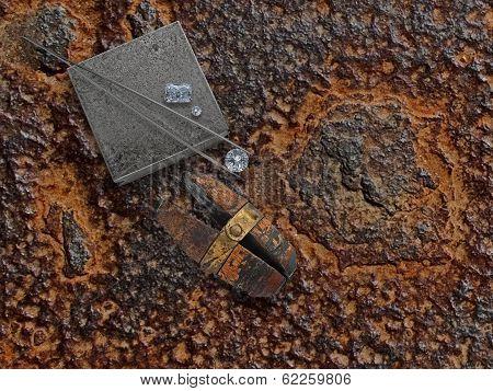 Working Rusty Plate With Diamonds