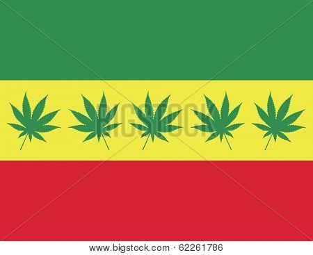 Rasta Flag with Marijuana Leaf Silhouette