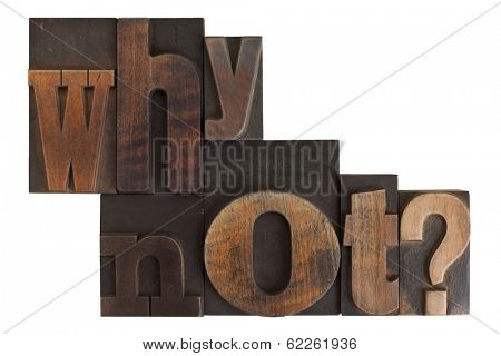 phrase why not? in vintage wooden letterpress type, scratched and stained, isolated on white background