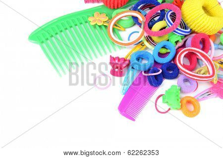 Colorful comb,barrette and Scrunchy isolated on white