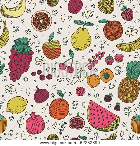 Tasty seamless pattern made of fruits and berries. Lemon, redcurrant, apple, strawberry, banana, grape, pomegranate, peach, cherry, pear, plum, rasberry, blueberry, orange, figs, kiwi and others