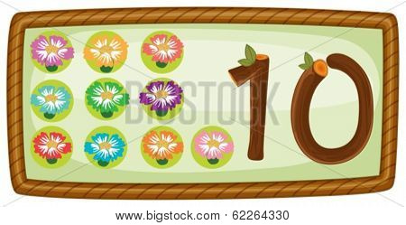 Illustration of a rectangular template with ten flowers on a white background