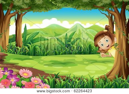 Illustration of a girl hiding at the jungle