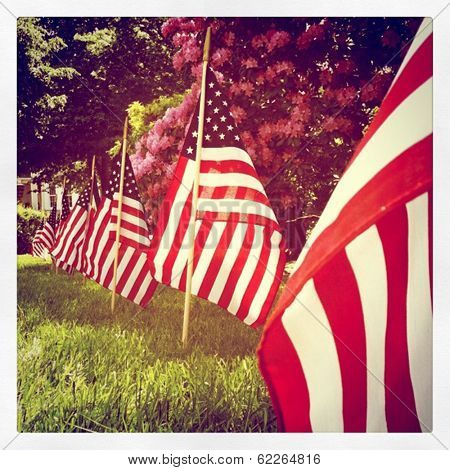 Instagram Style Row Of Us Flags For Memorial Day