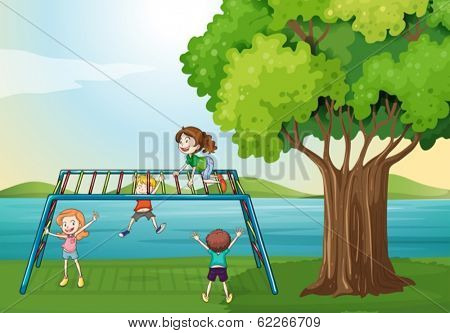 Illustration of the kids playing near the river