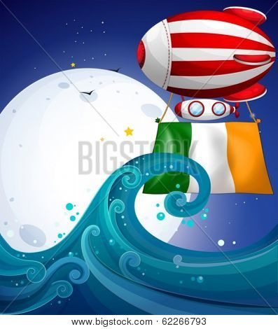 Illustration of a floating balloon with the flag of Ireland