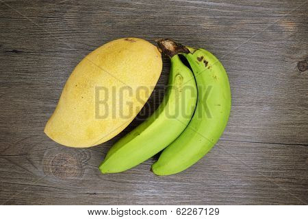 Mango Or Mangifera Indica And Banana