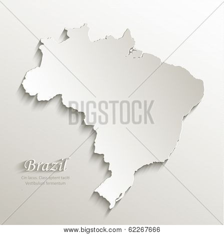 Brazil map card paper 3D natural vector