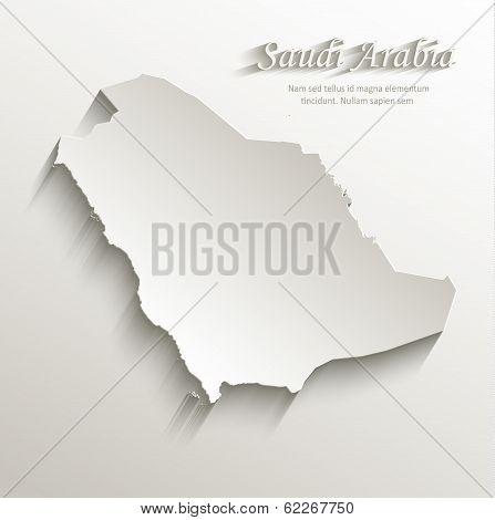 Saudi Arabia map card paper 3D natural vector