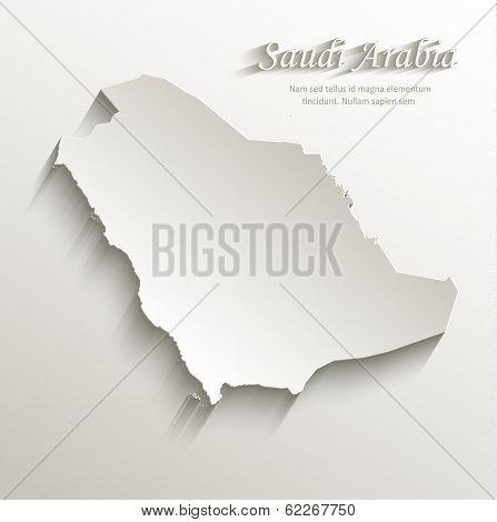 Saudi Arabia map card paper 3D natural vector