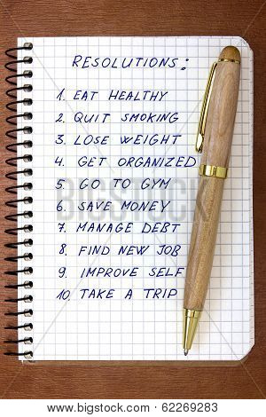 Resolutions Listed In The Notepad