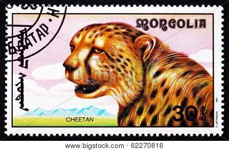 Postage Stamp Mongolia 1991 Cheetah, African Animal