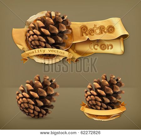Pine cone, retro vector icon
