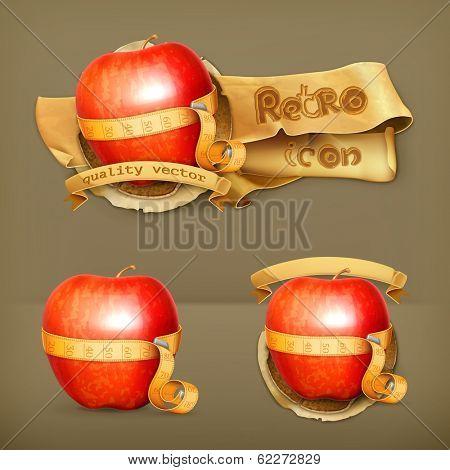 Tape measurement and apple, retro vector icon