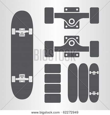 Skateboard, fingerboard icon
